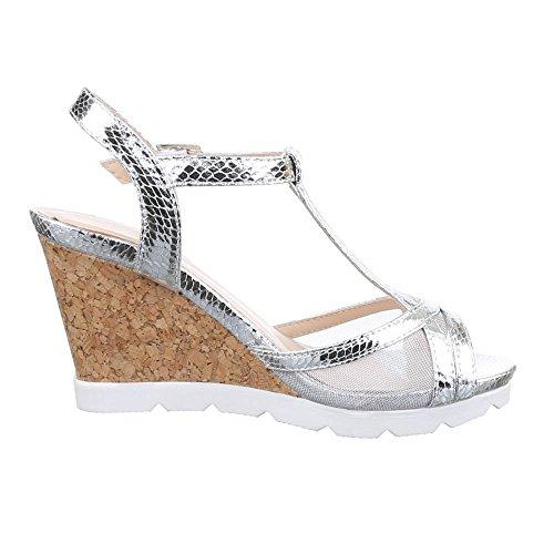 Damen Schuhe, K58, SANDALETTEN KEIL WEDGES PUMPS Silber