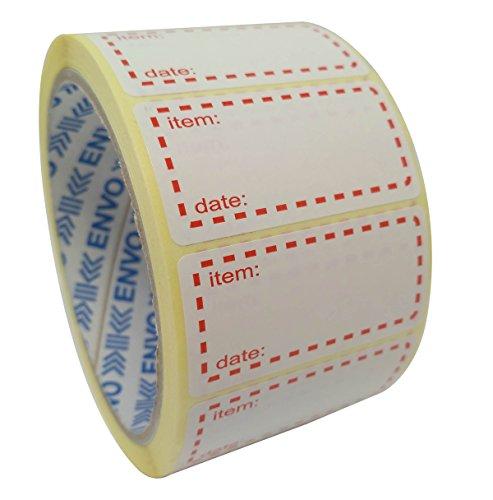 500 x Autocollants Congelables Étiquettes De Congélateur Sur Rouleau, Taille 50x25mm, Blanc Et Rouge Étiquettes De Date Pour L'autocollant De Nourritu...