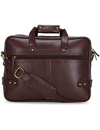 "Novex Faux Leather Brown 15"" Laptop Bag"