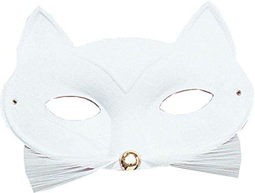 Erwachsene ausgefallen Party Kostüm Zubehör Tier Maskenball Katze Domino Augen Maske - Weiß, Einheitsgröße, One size