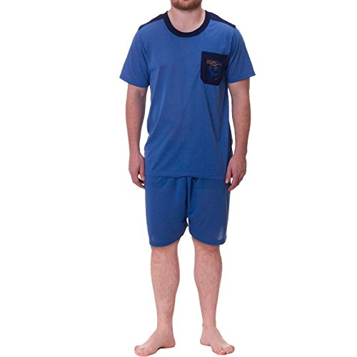 Henry Terre Shorty Pyjama Herren T-Shirt kurze Hose (4XL, Blau)