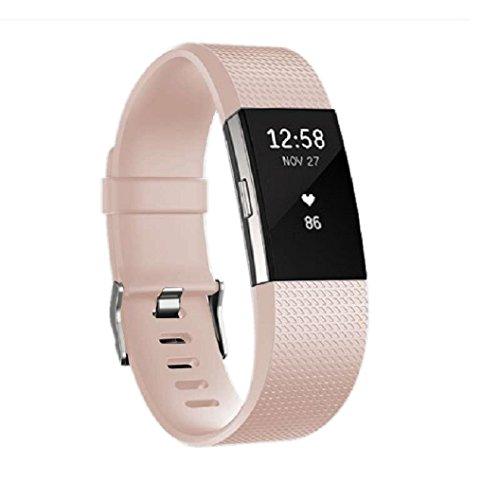 Jomoq Fitbit Charge2Ladekabel für Fitness-Armband, Ersatz Silikon-Armband, drahtlos, Aktivitäts-Tracker Zubehör für Silikon-Armband, mit Sicherheitsschnalle, hellrosa, S