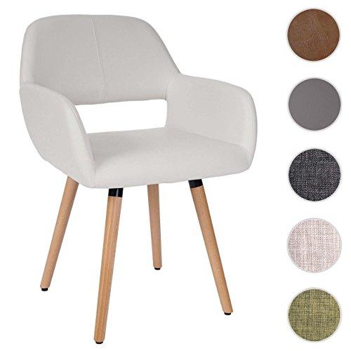 Mendler Esszimmerstuhl HWC-A50 II, Stuhl Küchenstuhl, Retro 50er Jahre Design ~ Kunstleder, weiß, helle Beine