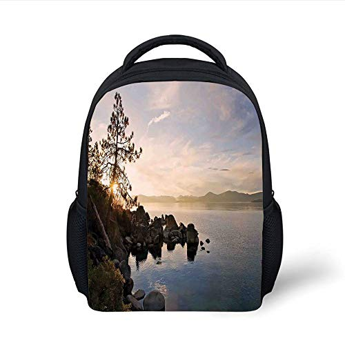 Kids School Backpack Lake,Lake Tahoe at Sunset with Clear Sky and Single Pine Tree Rest Peaceful Weekend Photo,Blue Grey Plain Bookbag Travel Daypack -