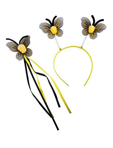 Luxuspiraten - Kostüm Accessoires Zubehör Kinder Schmetterlings Set mit Harreif und Prinzessinnen Stab, Butterfly Kit, perfekt für Karneval, Fasching und Fastnacht, Gelb (Butterfly Prinzessin Kostüme Kind)