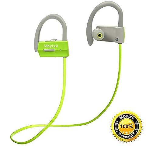 Bluetooth Kopfhörer Mbylxk 4.1 In Ear Ohrhörer Wireless Sports Headphones In Ear Headphones Stereo Headset Wireless Earphones,IPX4 Waterproof,für iPhone,Samsung Huawei Series (Grün+Grau)