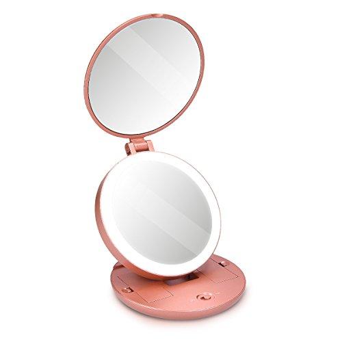 Navaris LED Taschenspiegel Kosmetikspiegel Schminkspiegel - Spiegel mit 5fach Vergrößerung Beleuchtung - Schmink Standspiegel beleuchtet - Rosegold -