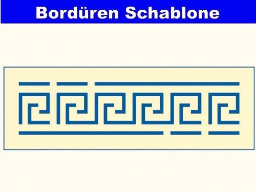 Mako Bordüren-Schablone # gestanzte Folie mit dem Motiv Mäander # Größe: 12 x 36 cm -