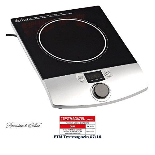 Rosenstein & Söhne Induktionskochplatte: Induktions-Kochplatte 12 bis 26 cm LCD Drehregler, 2.000 W, bis 200 °C (Induktions Einzelkochplatten)