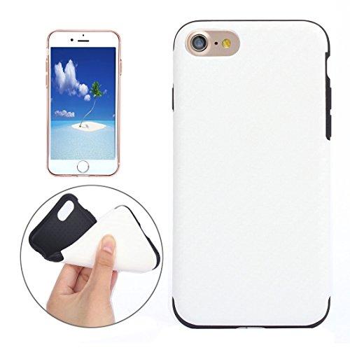 Mobiltelefonhülle - Für iPhone 7 Plus Carbon Fiber Texture Soft PU Schutzhülle Back Cover? ( Farbe : Dunkelblau ) Weiß