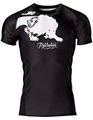 fightnature camiseta deportiva de manga corta, color: negro, talla: xl