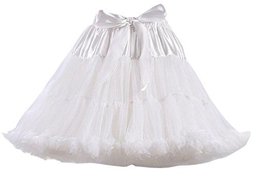 Caissen Damen Kurz Petticoat Tüll Ballett Tanzrock Tutu Ball Kleid Mehrfarbengroß Unterröcke Weiß (Weiß Korsett Tutu Erwachsene Kostüme Kleid)