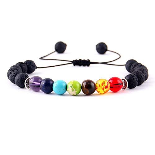 Imagen de wyhong yoga 7 cuentas de piedra pulseras del encanto de cristal brillantes chakras curación equilibrio macramé trenzan las mujeres pulseras y brazaletes de hombre accesorios metal color  4254a  alternativa