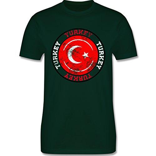 EM 2016 - Frankreich - Turkey Kreis & Fußball Vintage - Herren Premium T-Shirt Dunkelgrün