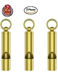 Outmate 3pcs Premium Mini Sifflet de secours avec cadeau Box-h62Laiton Loud Version EDC outils