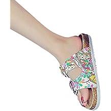 ZKOO Sandalias de Dedo Mujeres Multicolor Impresión Punta Abierta Vendaje Sandalias Verano Zapatillas de Verano Playa Zapatillas de Hebilla Casual