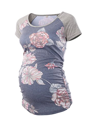 Love2Mi Damen Kurzarm Umstandsshirt Mutterschaft Klassische Seite Geraffte T-Shirt Tops Mama Schwangerschaft Kleidung, Hellgrauer Druck, S