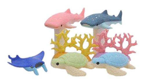 Iwako Tiefsee Tiere Schildkröte Hai Stachelrochen Korallenriff japanisch Radiergummis Blister Set...
