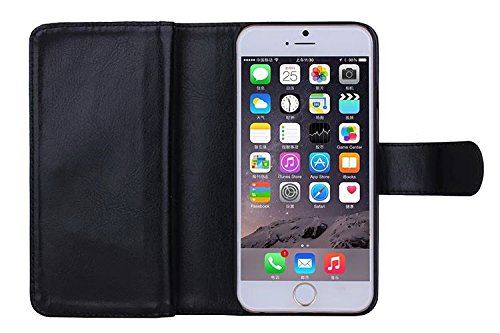 Für Apple iPhone 6/6S (11,9cm), urvoix (TM) Wallet Leder Flip Karte Fall, 2in 1abnehmbarer Magnetischer Rückseite Cover iPhone 6/iphone6s (nicht für 6Plus) schwarz schwarz