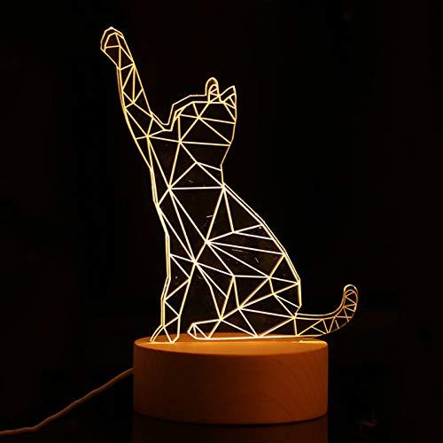 Veilleuse 3D 7 couleurs changeantes LED Lampe de table, interrupteur tactile, lampe de bureau à illusion optique, base ABS plate chargeur USB (chat chanceux)