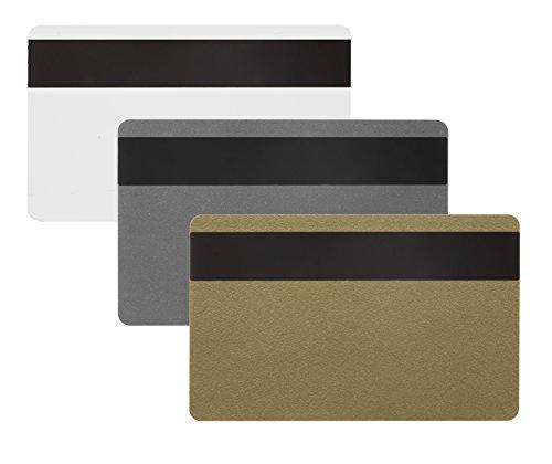 10 x Karteo® Plastikkarten gold | Blankokarten mit HiCo Magnetstreifen | aus PVC | zum codieren | für Ausweise Dienstausweise EC -Karten Bankkarten Gesundheitskarten