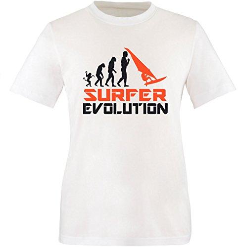 EZYshirt® Surfer Evolution Herren Rundhals T-Shirt Weiss/Schwarz/Orange