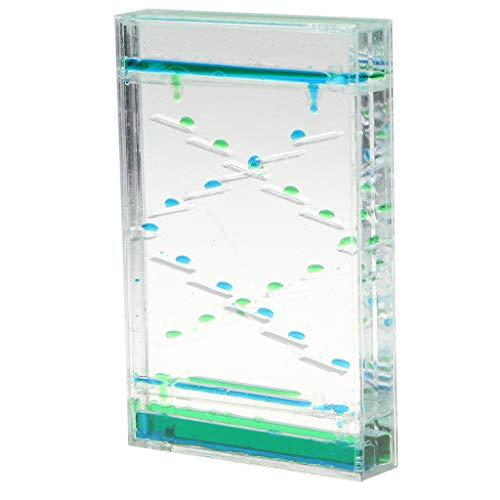 (F Fityle Flüssiger Zeitmesser, Liquid Timer für Kinder, Büro Schreibtisch Deko - D - Blau + Grün)