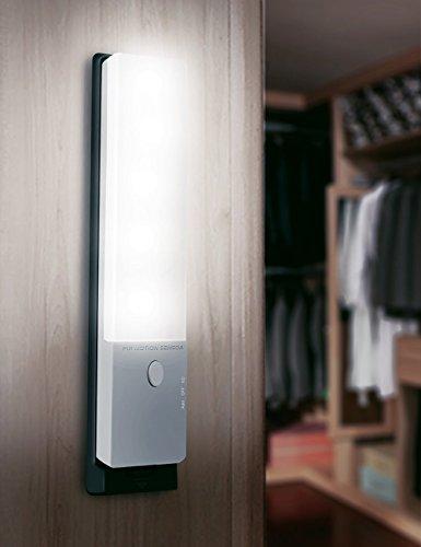 LEDemain® Lumière de nuit Rechargeable capteurs corporels USB Ultraslim mince, Eclairage mural sans fil automatique avec détecteur de mouvement (rectangle 6 LED Veilleuse avec du ruban adhésif)
