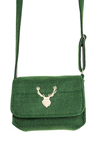 Trachtentasche Elch - Filz Trachten Tasche für Dirndl und Lederhose (Grün)
