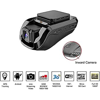 Dash Cam Car Video Recorders – Amacam AM-G10 With 3G Live Video Streaming  To Your Phone Front Facing & Internal Camera Views GPS Vehicle Tracker In