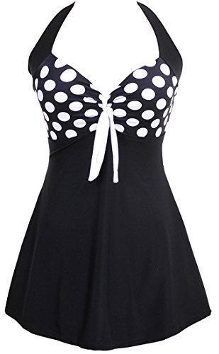 EUDOLAH Damen Retro Vintage Einteiliger Badekleid V Ausschnitt Badeanzug mit Röckchen (4XL (EU 44-46), schwarz)