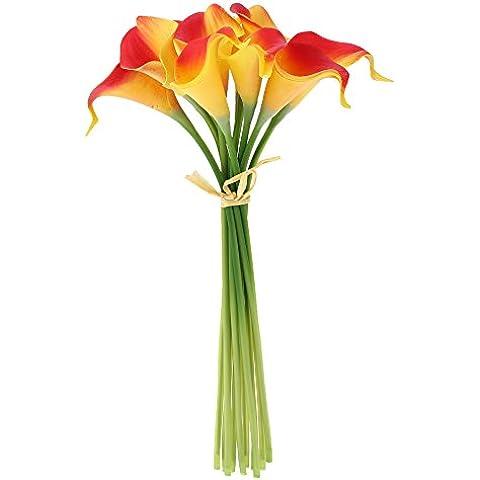 Anself - Lirios Calas Artificiales Decorativos de PU 10pcs/set de Ramo de Flores Artificiales para la Decoración del Hogar Hotel Fiesta Boda Bouquet