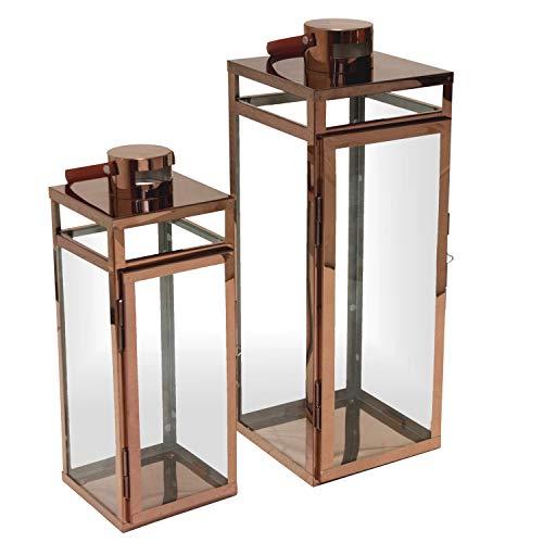 Multistore 2002 2tlg. Laternen-Set H49,5/38,5cm mit Ledergriff, Kupfer - Laterne Windlicht Gartenlaterne Kerzenhalter Gartenbeleuchtung Dekoration