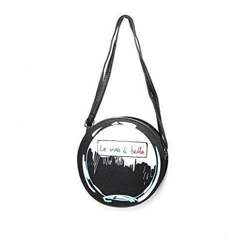 Dairyshop Sacchetto di Crossbody del messaggero di Tote della spalla della borsa della cartella del cuoio del Faux delle donne di modo (Rosa) Nero