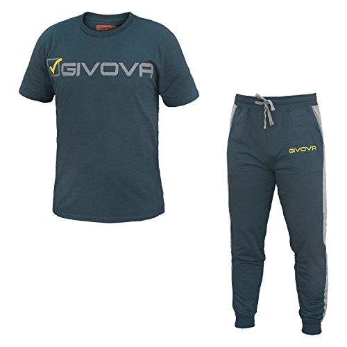 tuta uomo pantalone lungo mezza manica 100% cotone GIVOVA art. G501 Navy