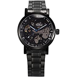 AMPM24 Mens Mechanical Skeleton Automatic Self-winding Black Stainless Steel Band Watch + AMPM24 Gift Box PMW269