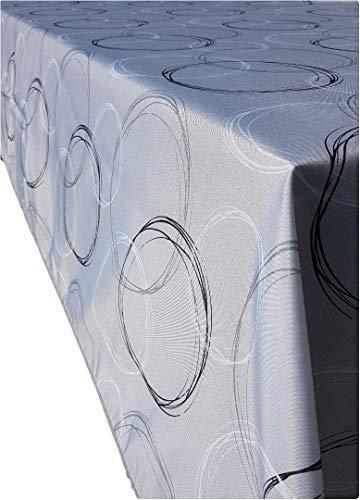 Valia Home Tischdecke Tischtuch Tafeldecke schmutzabweisend wasserabweisend Lotuseffekt pflegeleicht für drinnen und draußen eckig 140 x 280 cm grau
