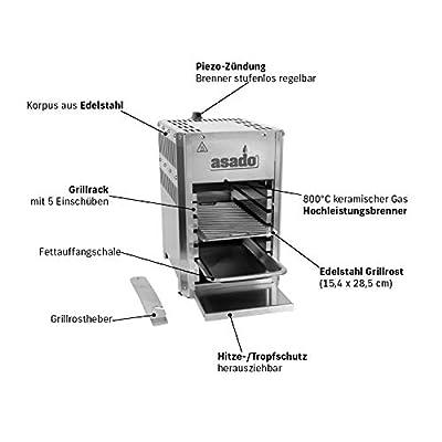 Asado 800 compact Oberhitze Gasgrill 800°   Hochtemperaturgrill, Steakgrill