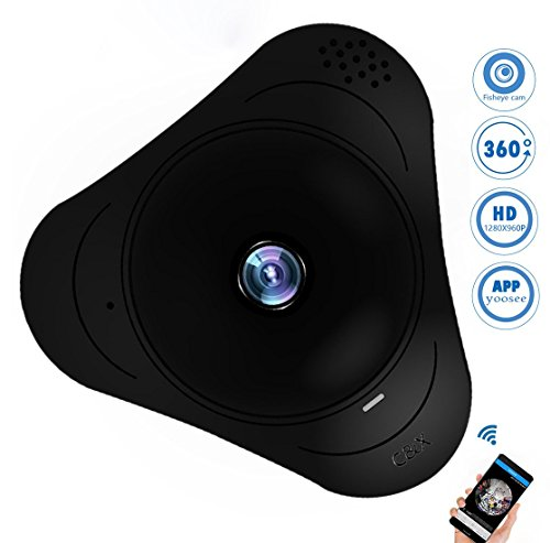 Fisheye 360 IP Wifi Camera Videocamera Sorveglianza 360°Gradi 960P Mini Telecamera Hotspot AP,15M Visione Notturna Interfono Vocale Bidirezionale,Bambini+ Vecchio + Animale Domestico Videosorveglianza Sicurezza,128GBSD,(Non Contiene SD)