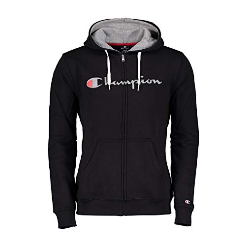 Champion Herren Zip Hoodie Hooded Full Zip Sweatshirt 212065, Größe:2XL, Farbe:schwarz (NBK)/grau (oxgm) Retro Full Zip Hoodie