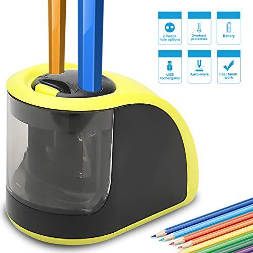 Bleistiftspitzer - elektrischer Bleistiftspitzer mit USB- oder batteriebetrieben, 2 Löcher (6 - 8 mm und 9-12 mm) - perfektes Geschenk für Kinder