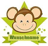 Samunshi® Süßer AFFE Aufkleber mit Namen Autoaufkleber Namensaufkleber Kinder in 7 Größen (10x8,8cm Mehrfarbig)