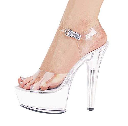 (GHFJDO Klare High Heels Damen Plattform Kleid Sandale, Damen Pleaser Heels für Pole Dance Pumps Sandale Stripper Schuhe,Clear,39EU)