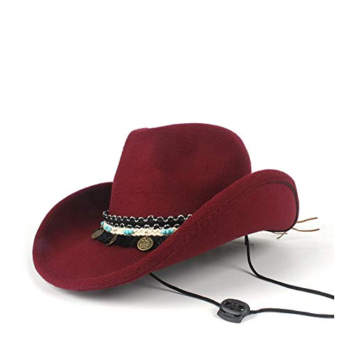 LQ-BNM Panamahut - Western Cowboyhut Mit Pop Jazz Hut, Adult Fedora 56-58CM (Farbe : Weinrot, Größe : - Pop Jazz Kostüm