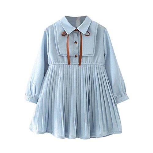 YEARNLY Baby Kinder mädchen, das nettes Normallackbügelkleid der Mode niedliches Kleidungspartykostüm drapiert Blau 7 9 11 13 ()