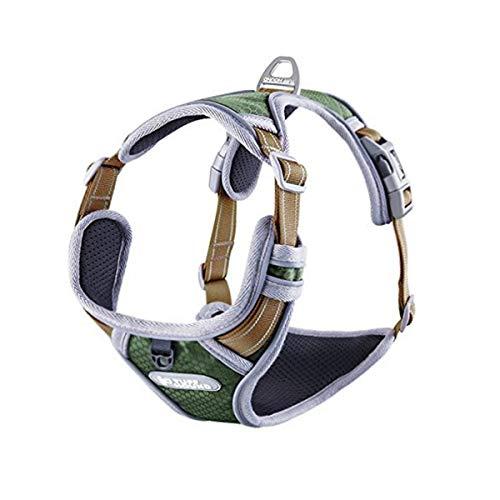 PETTOM Hundegeschirr Geschirr für Hunde NO Pull Powergeschirr mit Heavy Duty Griff für Hundetraining oder Walking (M, Green)