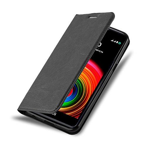 Preisvergleich Produktbild Cadorabo Hülle für LG X Power - Hülle in Nacht Schwarz – Handyhülle mit Magnetverschluss,  Standfunktion und Kartenfach - Case Cover Schutzhülle Etui Tasche Book Klapp Style