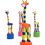 Set Of 4 - Handmade Multi-Coloured Wooden Giraffe Rocking Toy | Best Playset For Kids And Children | Small Home Decor Showpieces | Best Gift Idea By DAISYLIFE
