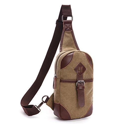Outreo Borsa a Spalla Petto Borse Vintage Chest Bag Piccolo Tracolla Uomo Sport Marsupio Tasca di Tela per Outdoor Borsello Militare Tasche Trekking Viaggio Beige