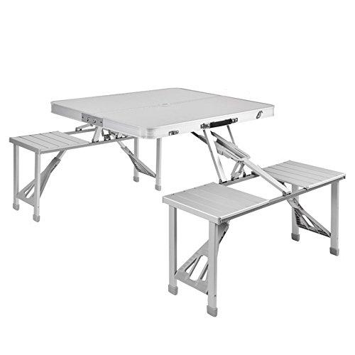 Picknick-tisch Mit Stühlen Folding (LVZAIXI Tragbare faltende kampierende Picknicktisch-und Stuhl-Schemel stellten Party-Feld-Küche-Garten-BBQ-Aluminium im Freien ein)